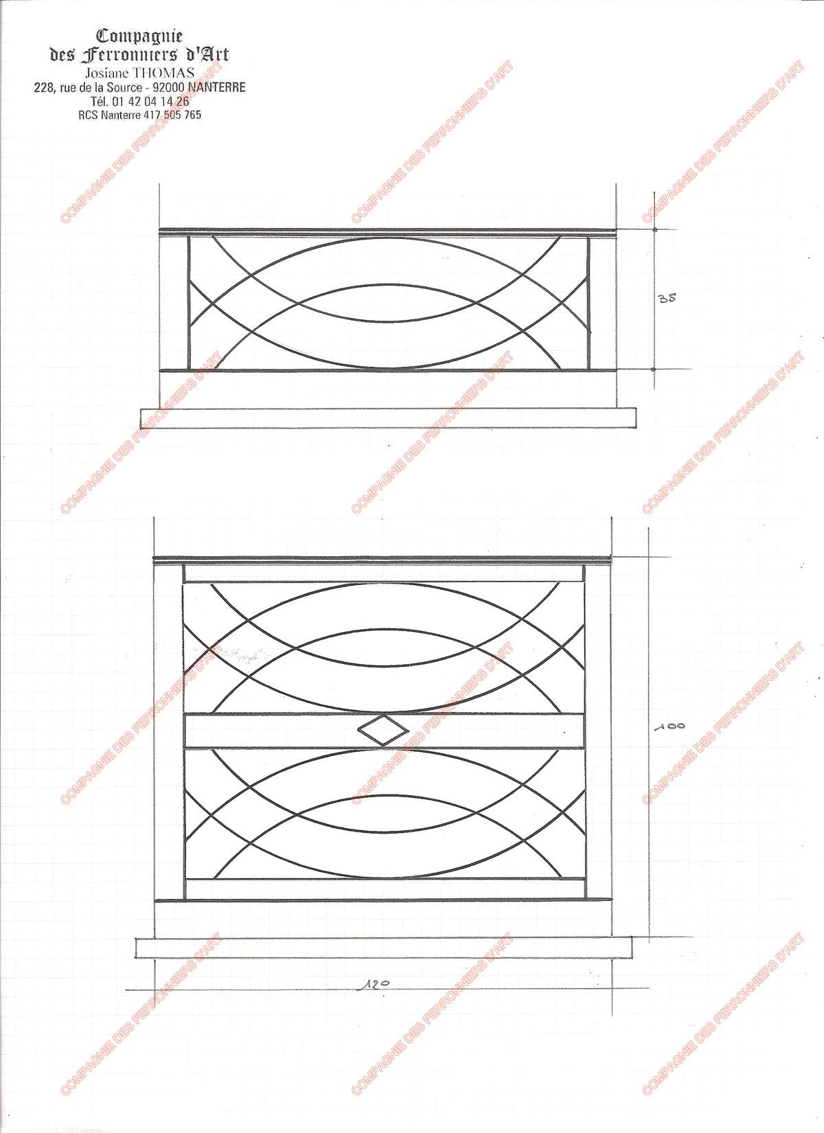 Appuis de fen tre en fer forg modernes mod le afm05 arceaux crois s for Modele fer forge pour fenetre