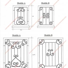 Grilles en fer forg grilles de d fense traditionnelles for Modele de grille de fenetre en fer forge
