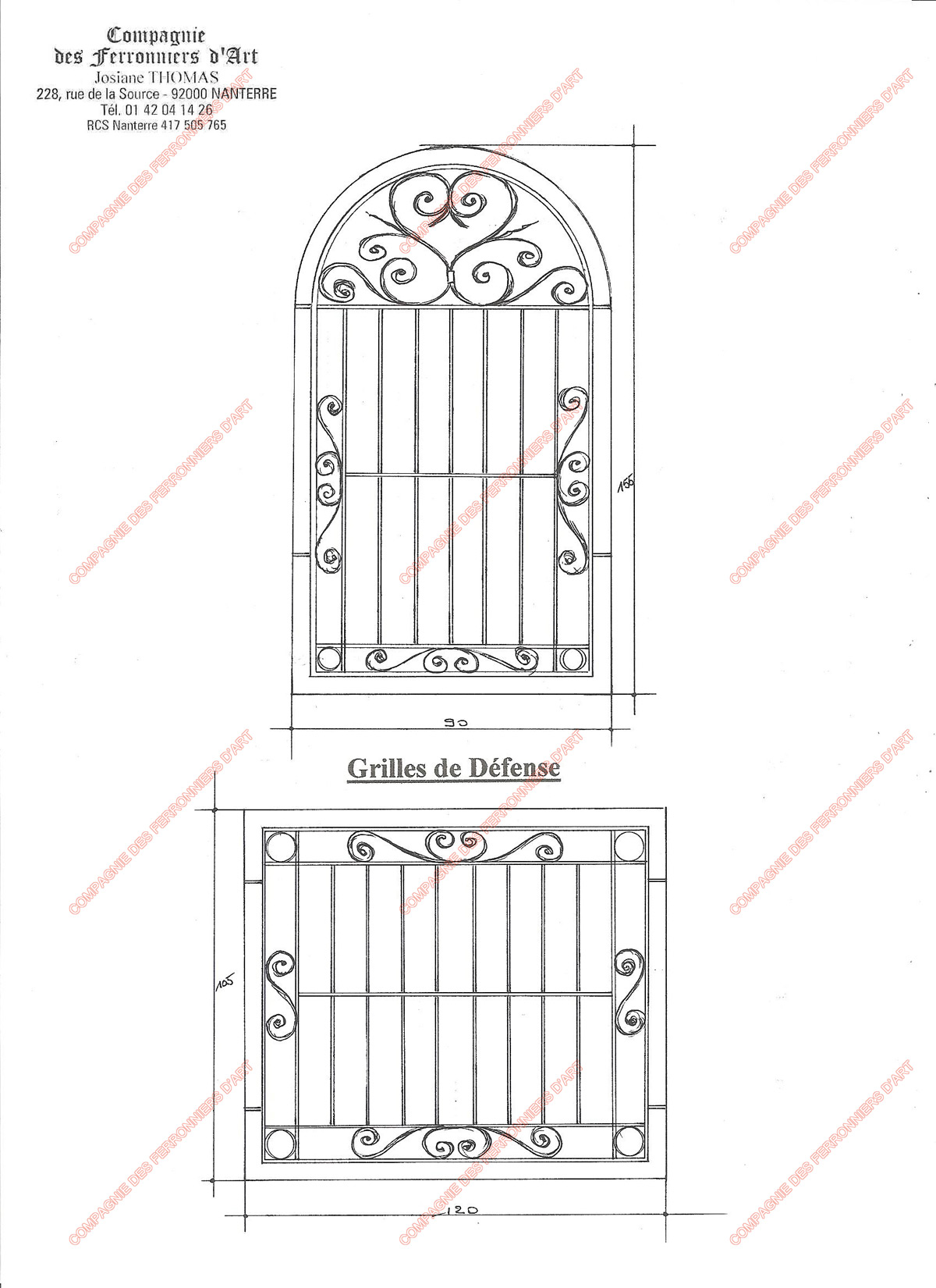 grilles en fer forg de d fense traditionnelles mod le gdt11 barreaux volutes 1. Black Bedroom Furniture Sets. Home Design Ideas