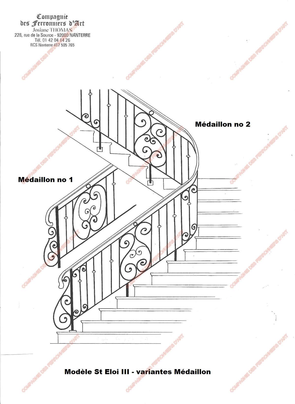 Rampes d 39 escalier en fer forg classique mod le saint for Fenetre escalier