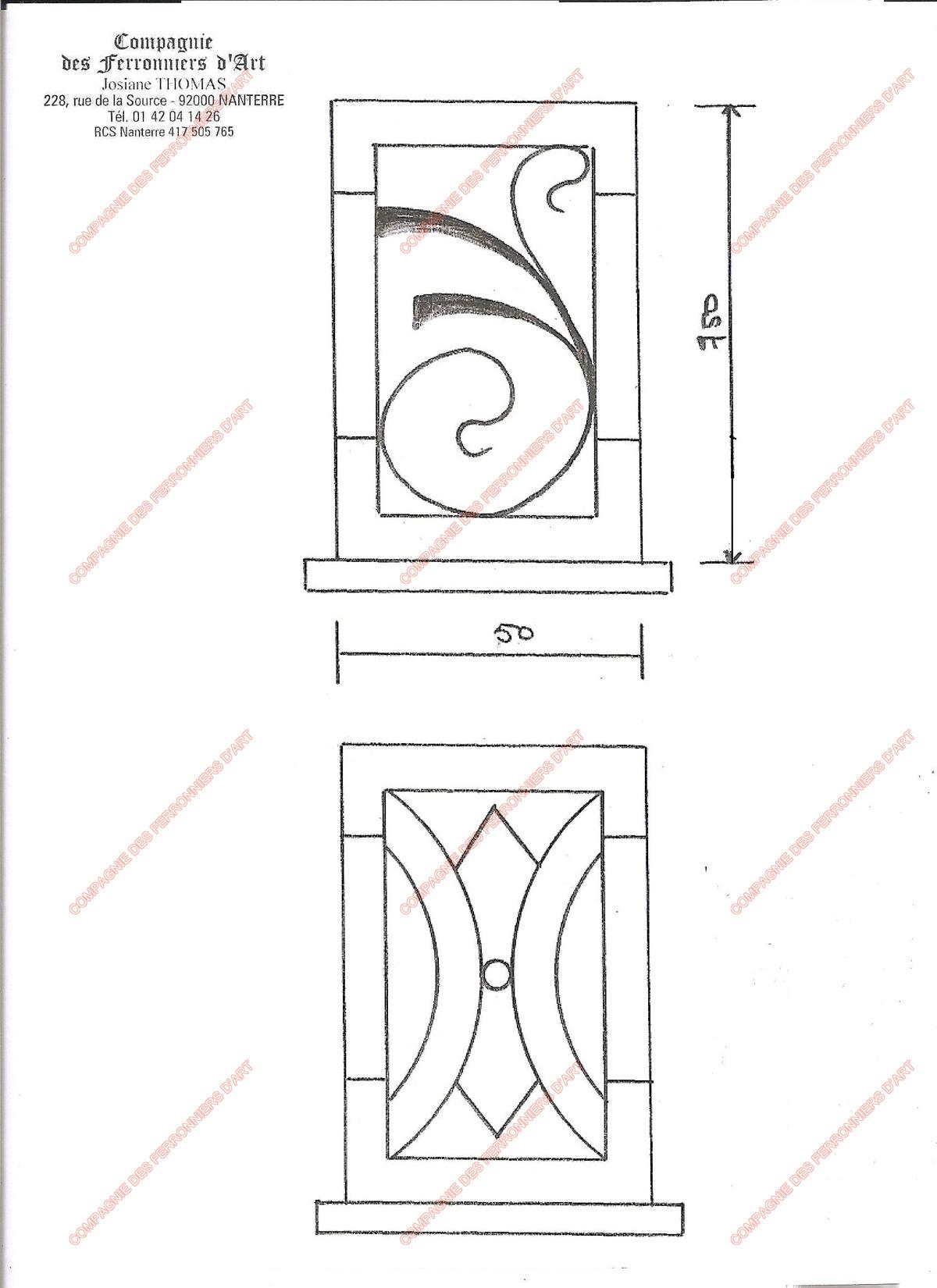 grilles en fer forg de d fense modernes mod le gdm02. Black Bedroom Furniture Sets. Home Design Ideas