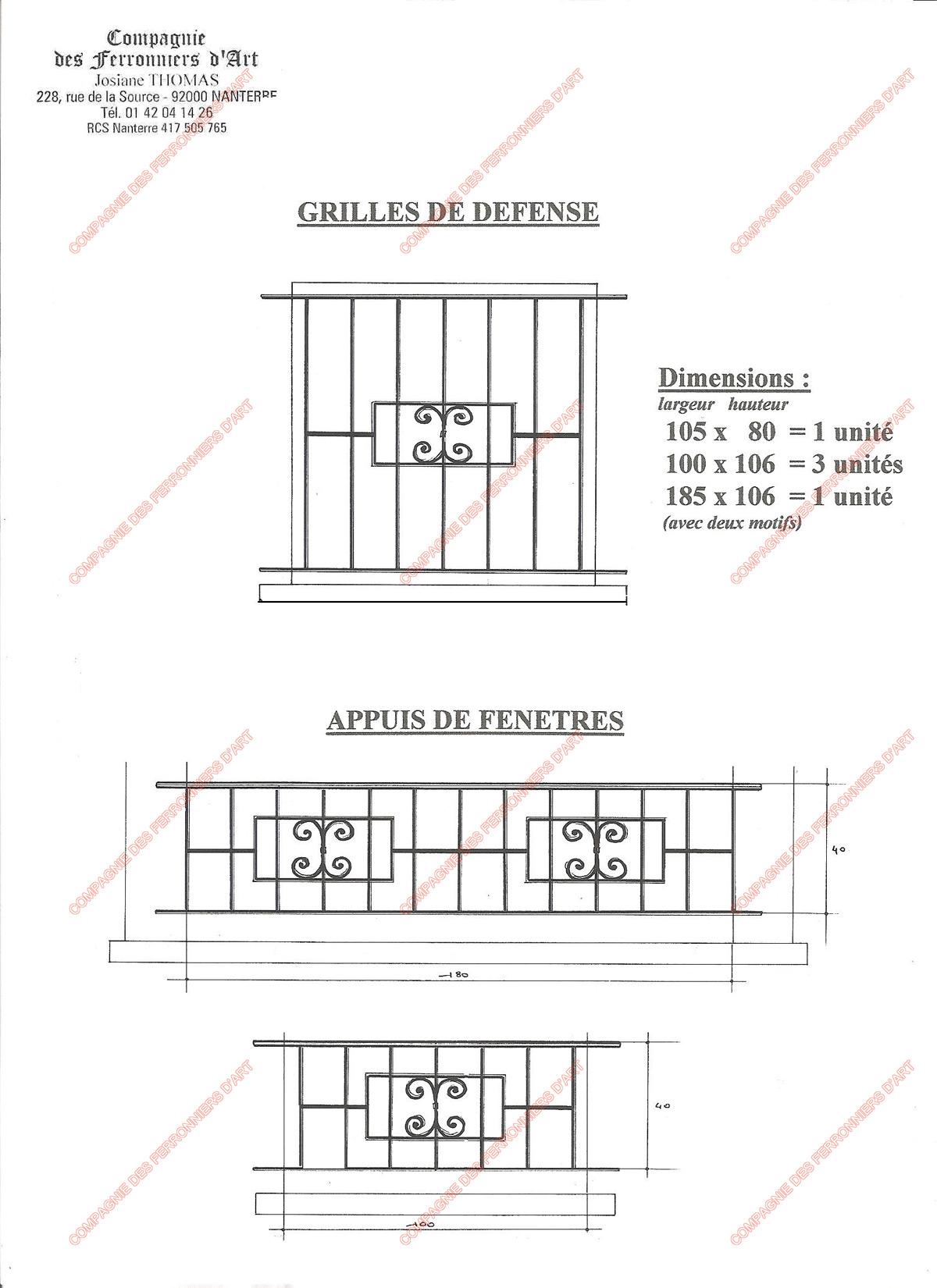 Grilles en fer forg de d fense diverses mod le gdd04 barreaux divers for Combarreau de fenetre amovible