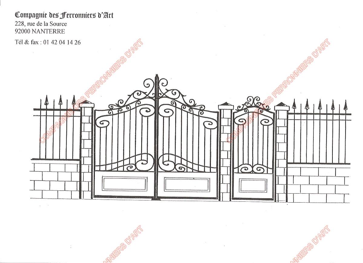 Portails en fer forg traditionnels mod le pt 010 for Dessin portail fer forge