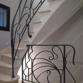 rampes d 39 escalier en fer forg style art nouveau mod le liane arabesque. Black Bedroom Furniture Sets. Home Design Ideas