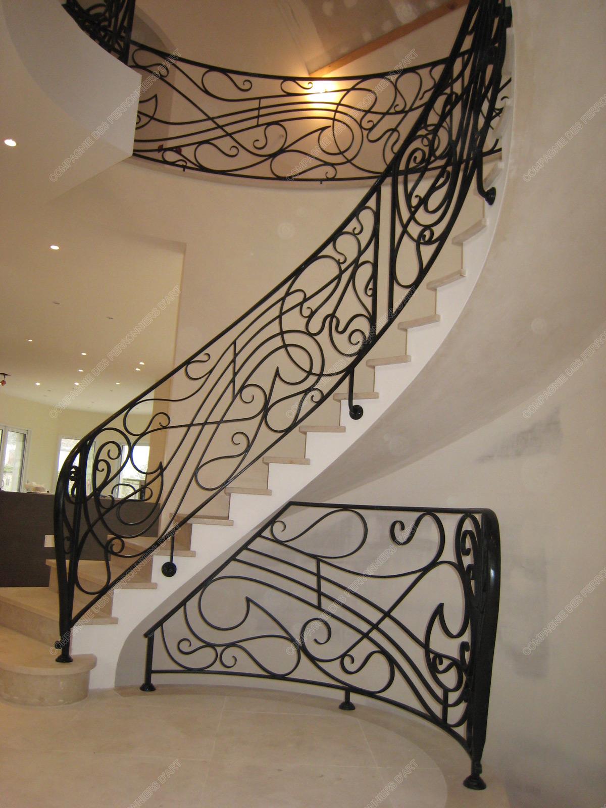 rampes d 39 escalier en fer forg art nouveau mod le lyre. Black Bedroom Furniture Sets. Home Design Ideas