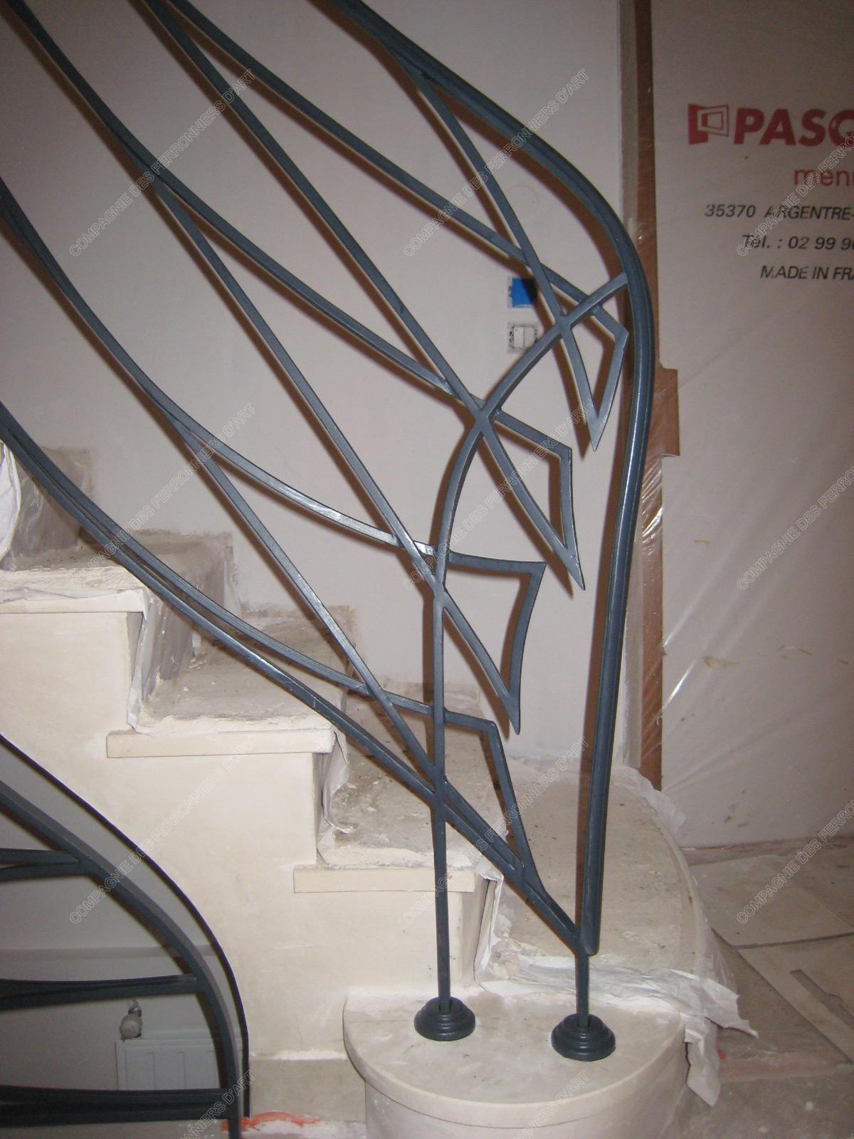 Rampes d 39 escalier en fer forg art nouveau mod le poissons - Modele poisson ...