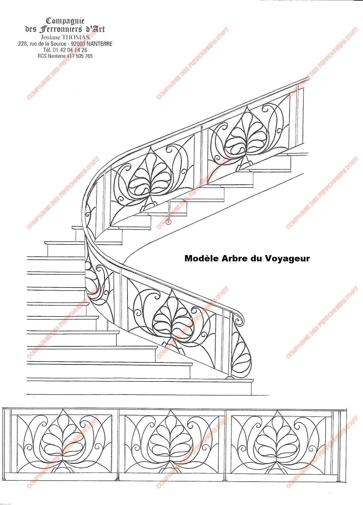 Rampes d 39 escalier en fer forg floral et v g tal mod le arbre du voyageur for Dessin en fer forge
