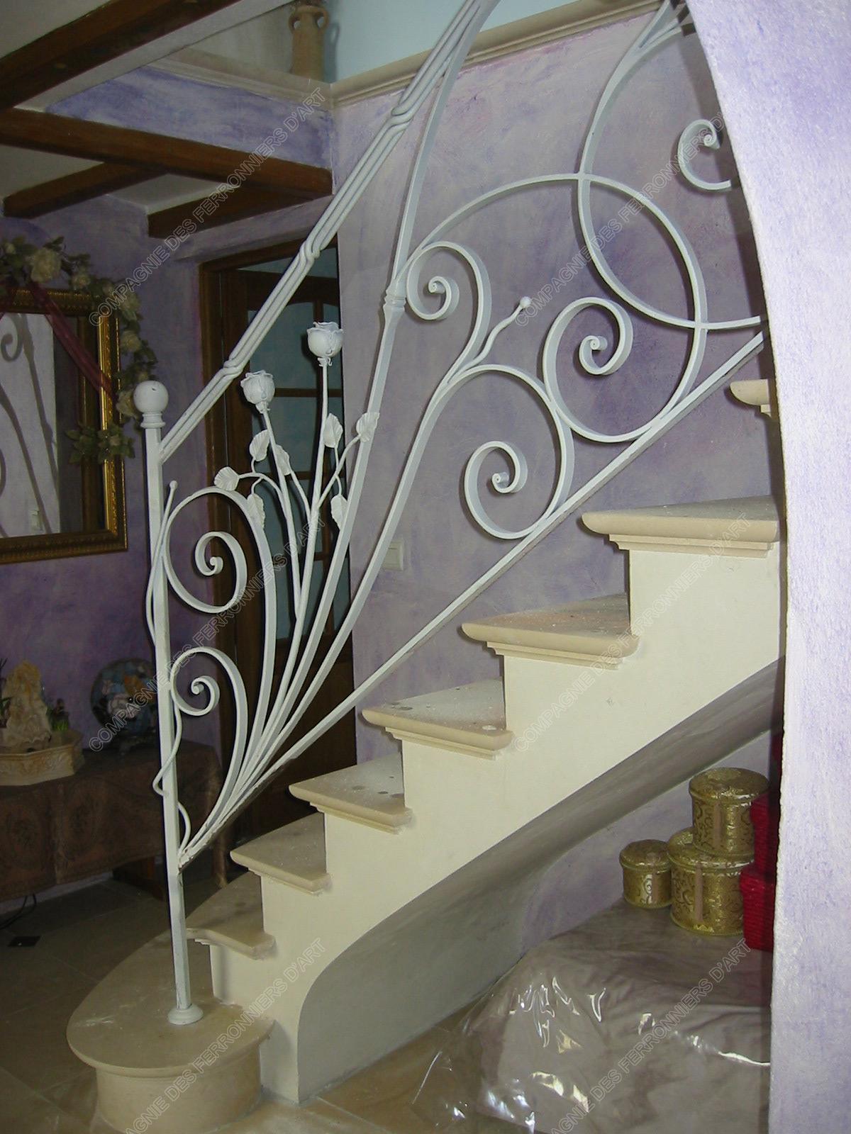 rampes d 39 escalier en fer forg floral et v g tal mod le fleurs. Black Bedroom Furniture Sets. Home Design Ideas