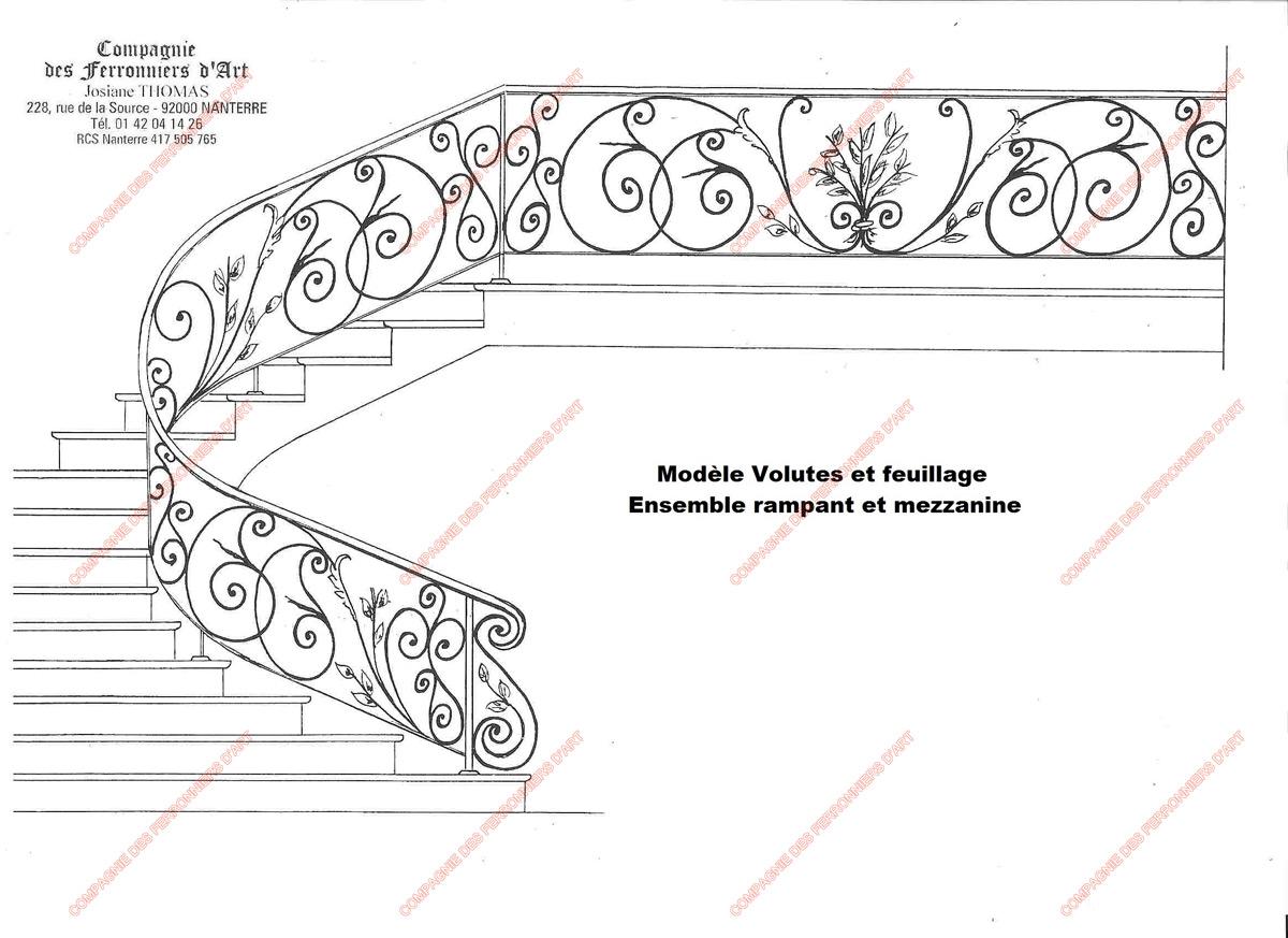 Rampes d 39 escalier en fer forg floral et v g tal mod le volutes et feuillages for Dessin en fer forge