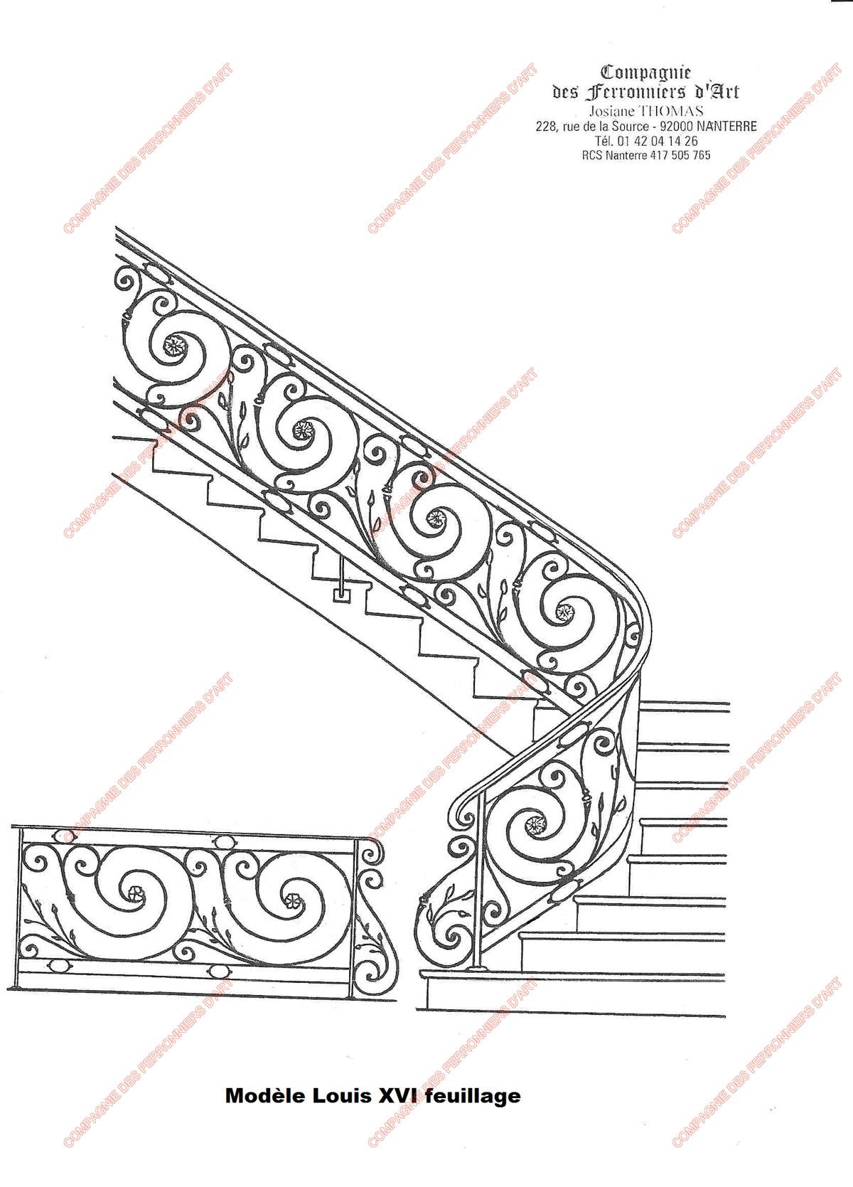 Rampes d 39 escalier en fer forg classique mod le louis xvi feuillage for Dessin en fer forge