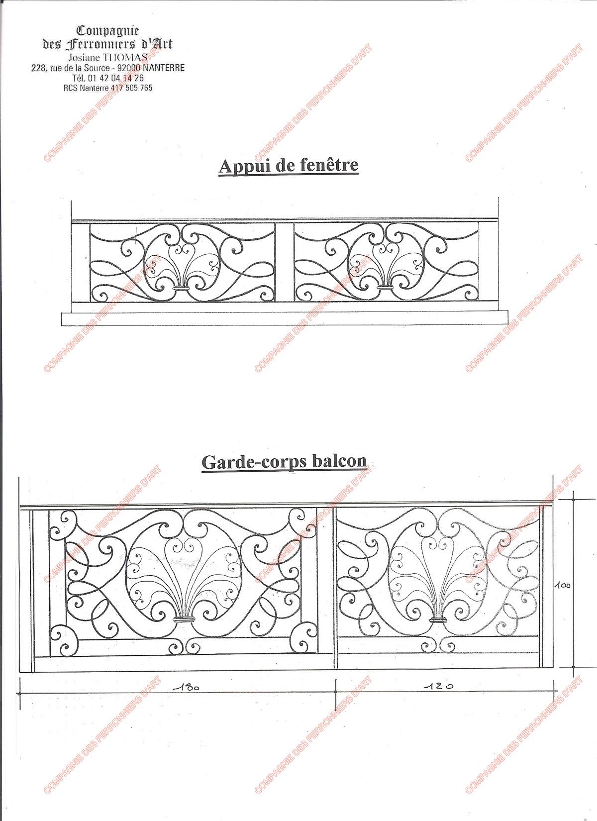 Appuis de fen tre en fer forg traditionnels mod le for Garde corps fenetre castorama