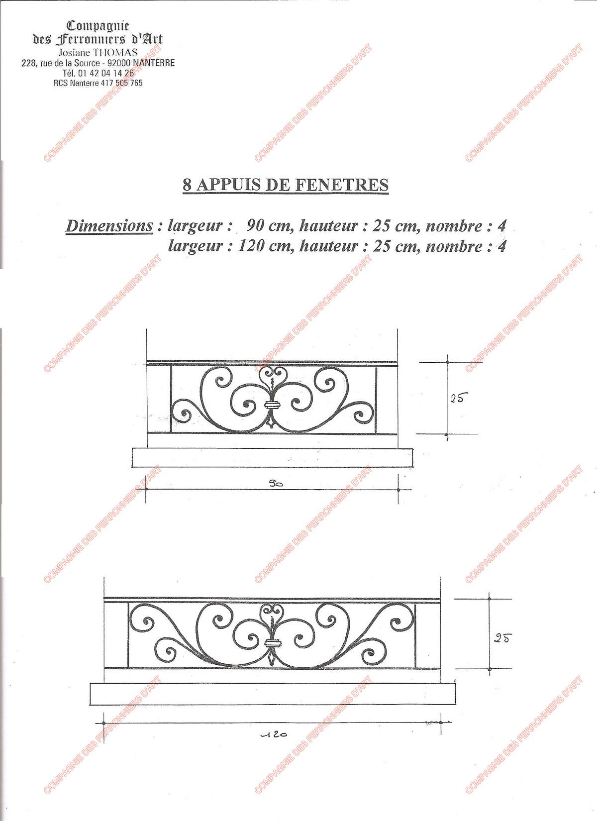 appuis de fen tre en fer forg traditionnels mod le aft14 volutes 2. Black Bedroom Furniture Sets. Home Design Ideas